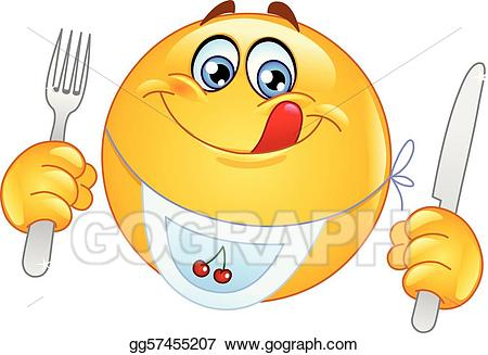 Hungry clipart dinner. Eps vector emoticon stock