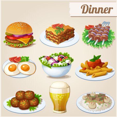 Dinner clipart meal. Tasty icons design vector