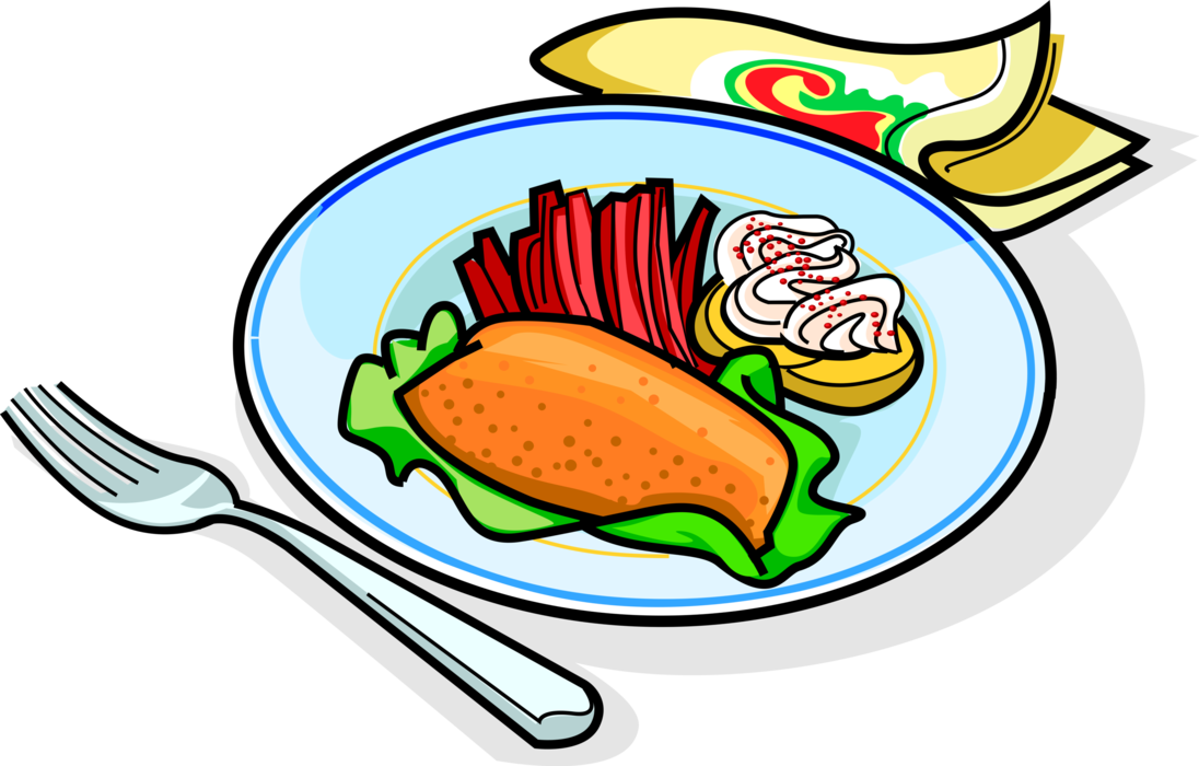 Dinner clipart meat plate. Garnished fried vector image