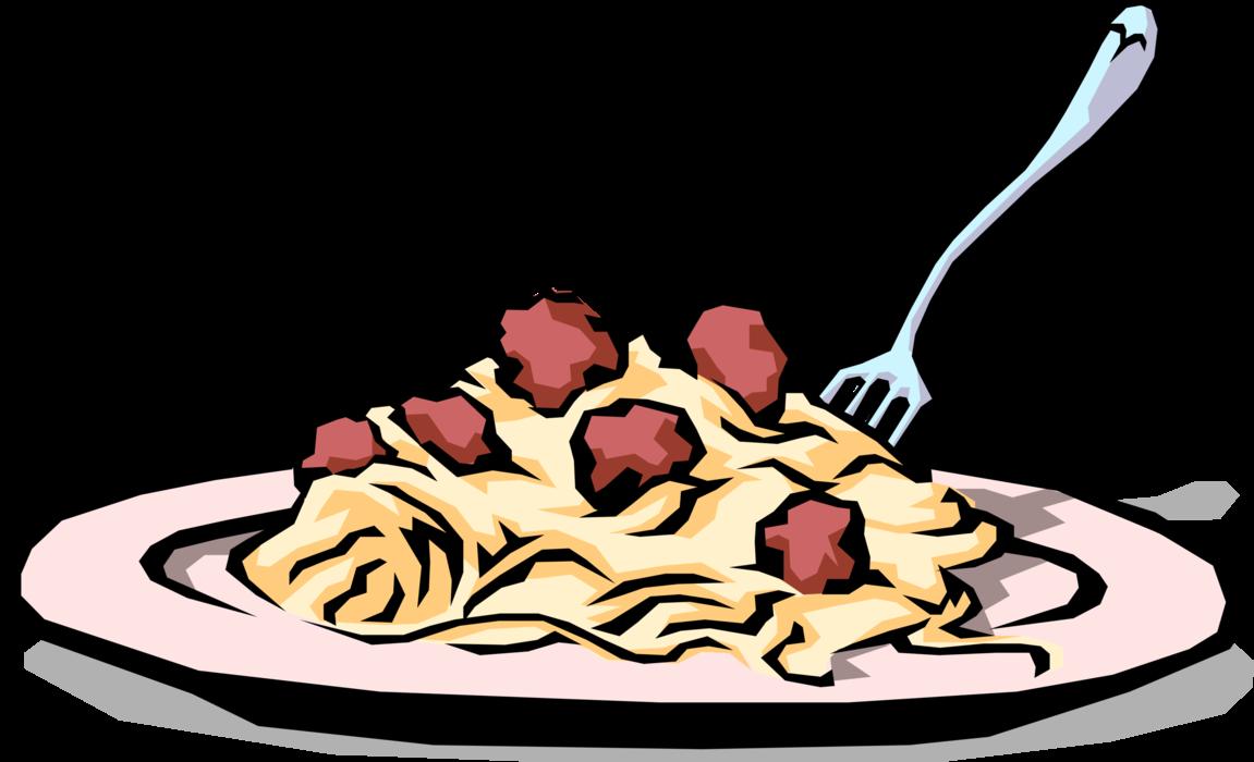 Meal clipart food italian. Spaghetti meatball dinner vector