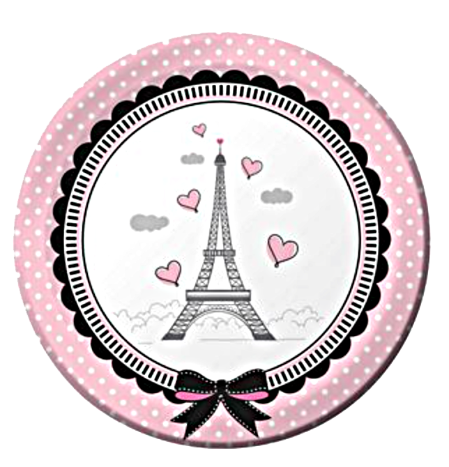 Paris party lunch plates. Dinner clipart pink plate