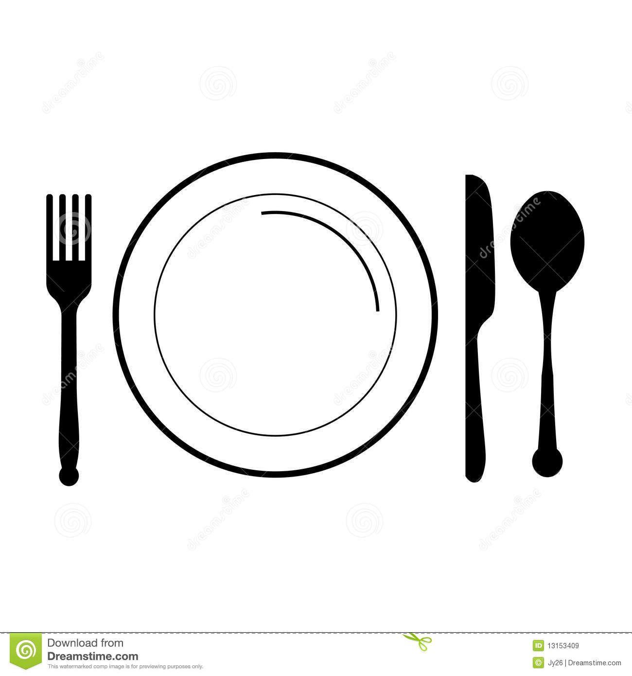 Clip art vector icon. Dinner clipart plate knife fork