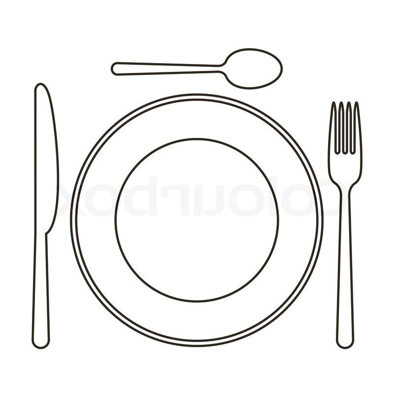 Dinner clipart plate knife fork.  clipartlook