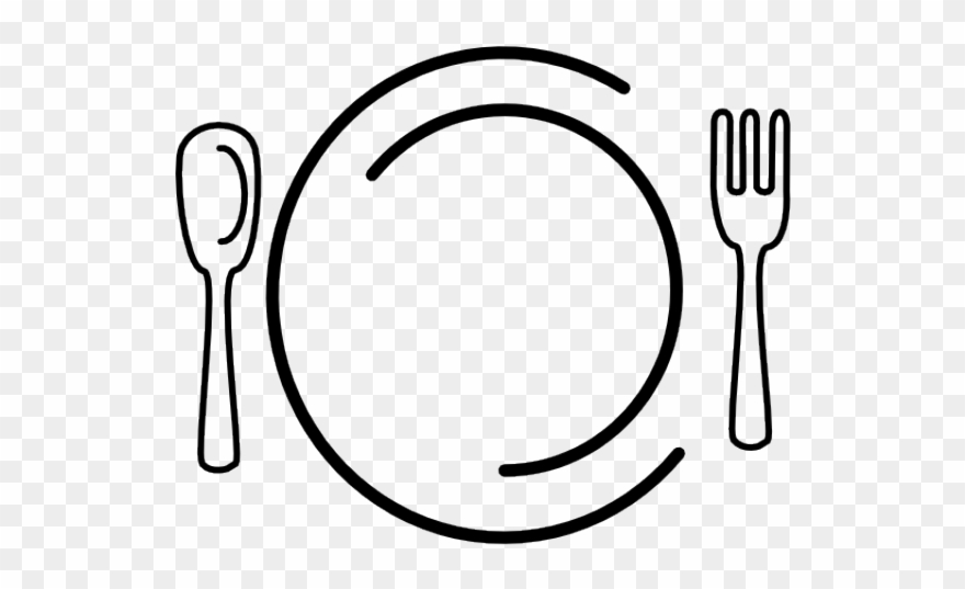 Dinner clipart plate knife fork. And spoon circle png