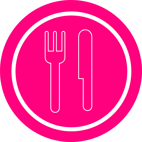 Knife clipart silverware plate. Pink with and fork