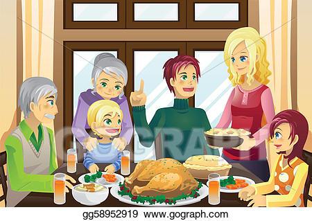 Vector art thanksgiving family. Dinner clipart tradition