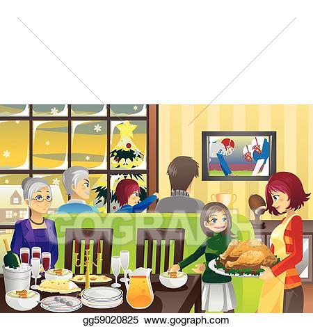 Dinner clipart tradition. Vector art thanksgiving family