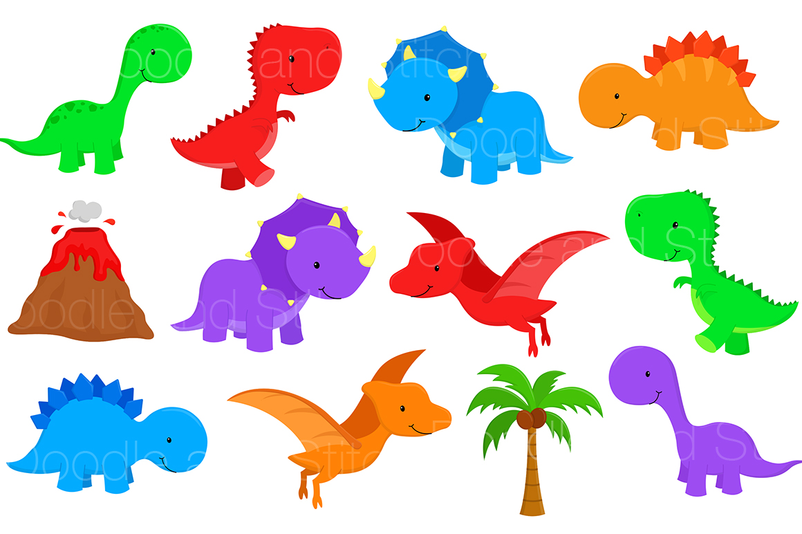 Dinosaurs clipart. Dinosaur set by doodle