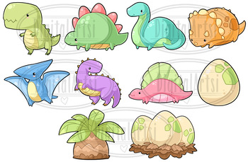 Dinosaurs . Dinosaur clipart kawaii