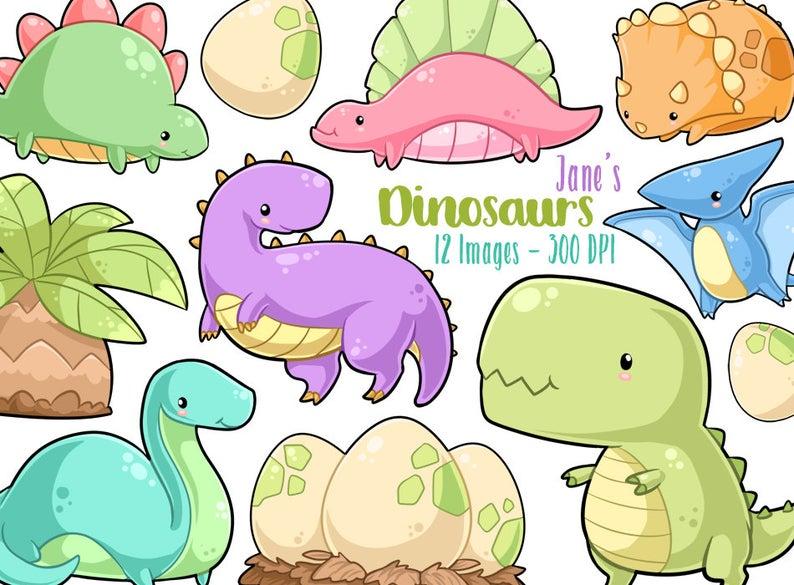 Dinosaur clipart kawaii. Dinosaurs cute download instant