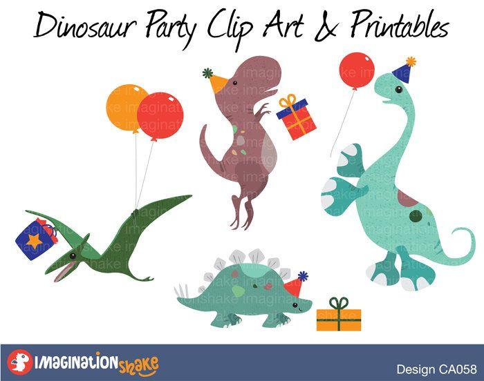 Dinosaur clipart party. Birthday clip art printables