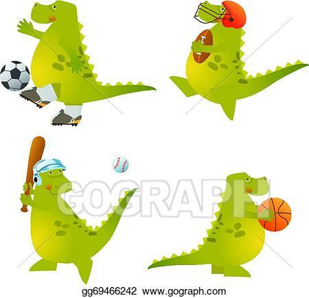 Vector art play ball. Dinosaur clipart sport