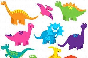 Dinosaurs clipart. Dinosaur and vectors illustrations