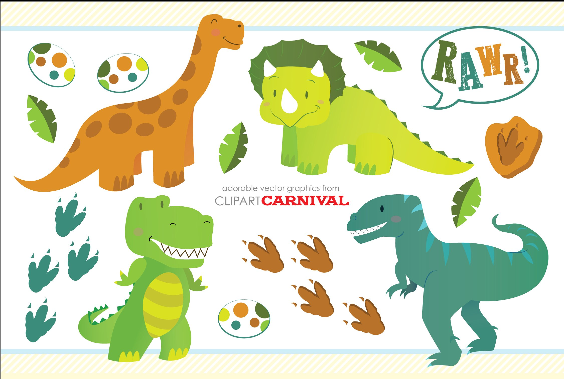 Dinosaurs clipart. Cute little baby illustrations