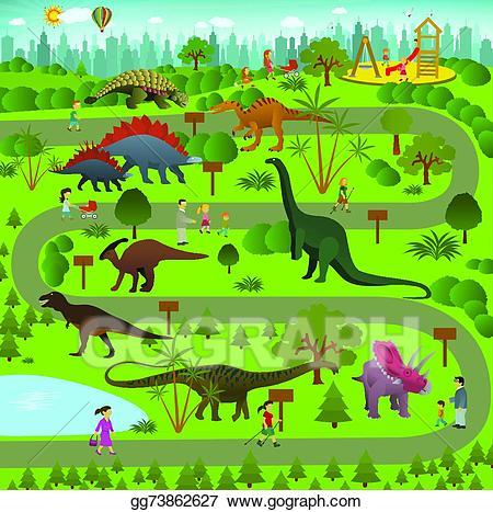 Dinosaurs clipart dinosaur land. Vector art park drawing