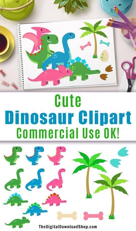 Dinosaurs clipart group. Cute dinosaur digital resources