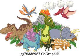 Vector illustration cartoon allosaurus. Dinosaurs clipart group