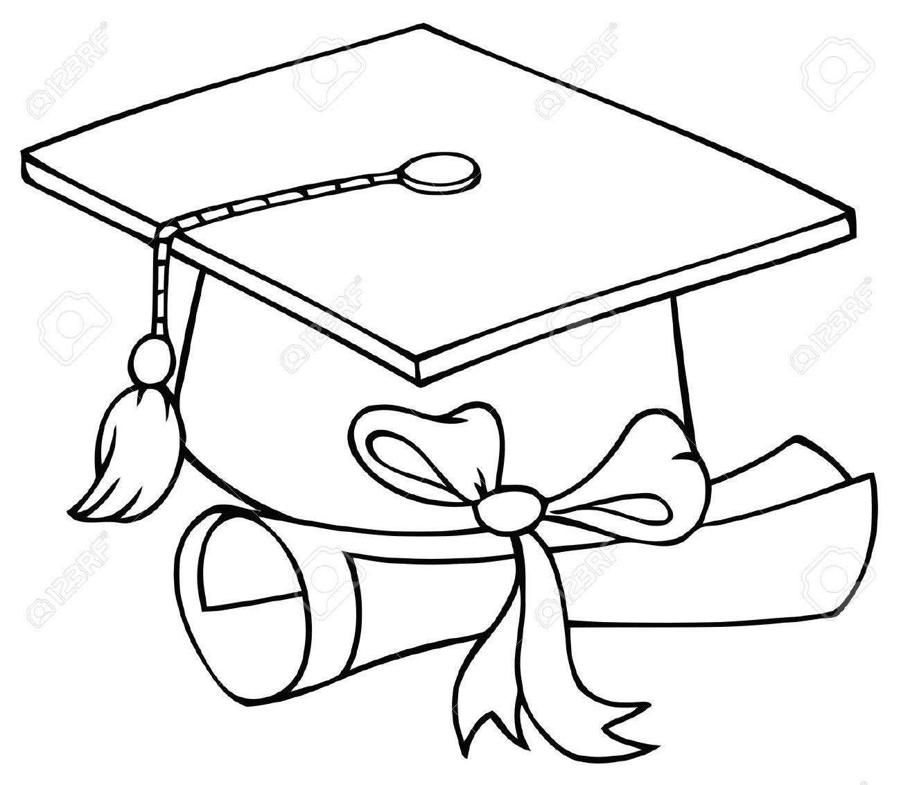 Diploma clipart black and white. Graduation cap clip