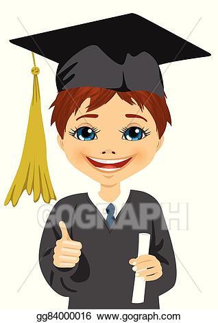 Vector little boy holding. Graduation clipart portrait