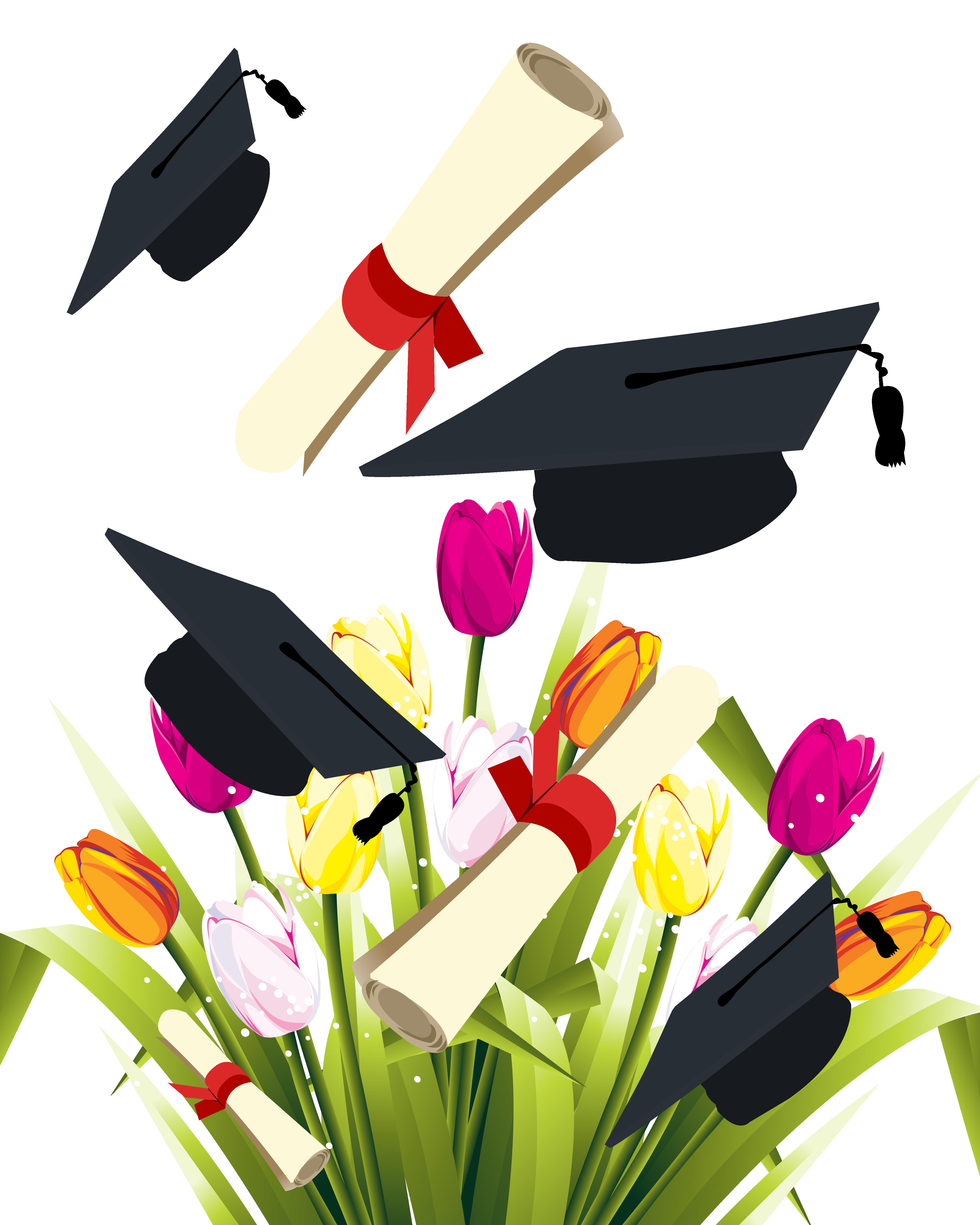Diploma clipart graduation flower. Ceremony square academic cap