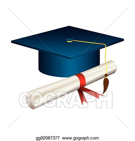 Diploma clipart graduation hat. Vector art color with