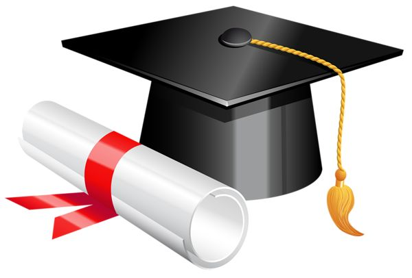 Graduation cap and picture. Diploma clipart graphic