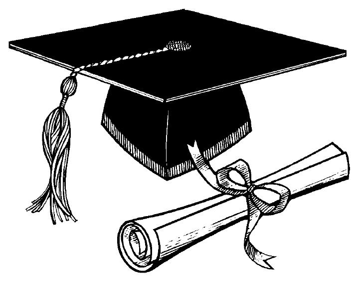 Diploma clipart hat. Graduation cap and black