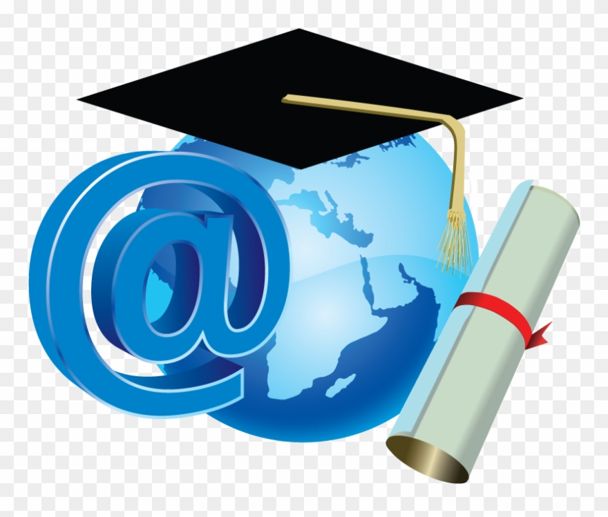 Defining distance education world. Diploma clipart map