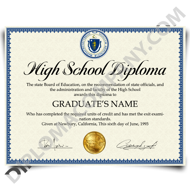 Diploma clipart official document. Fake usa high school