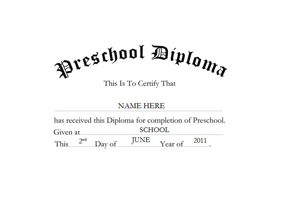 Preschool free word templates. Diploma clipart official document