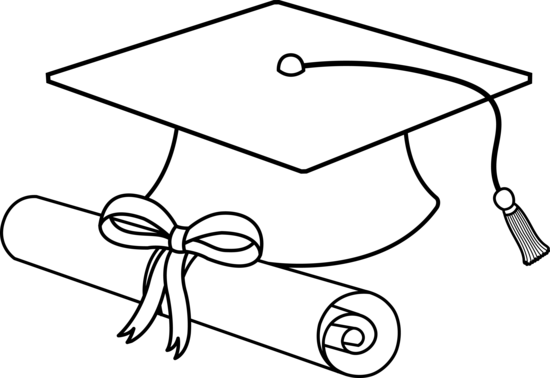 Diploma clipart outline. Free cap and download