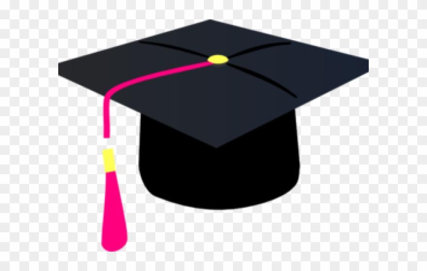 Pink cap with purple. Graduation clipart graduation hat