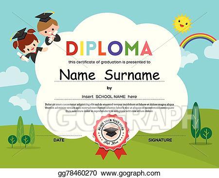 Diploma clipart preschool. Vector art elementary school