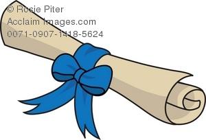 Diploma clipart ribbon. Clip art illustration of