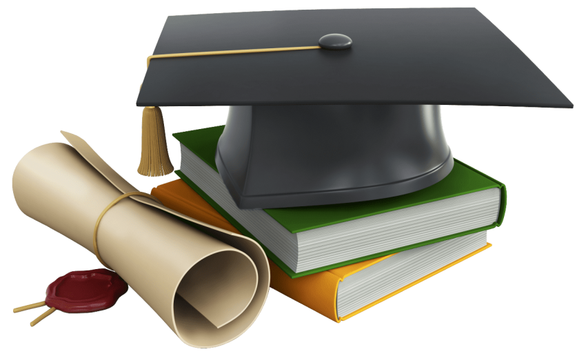 Diploma clipart transparent background. Graduation cap books and