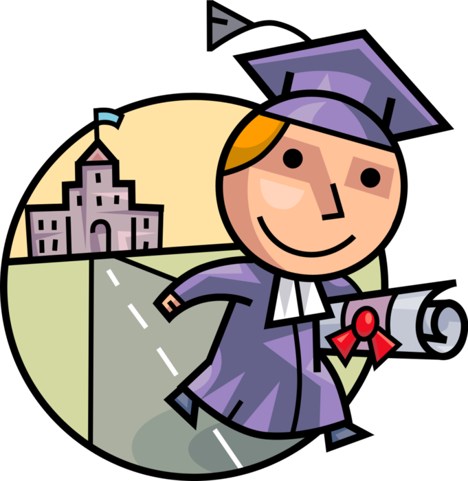Graduate leaves school with. Diploma clipart vector