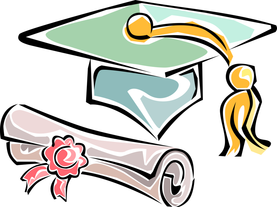 Mortarboard cap with graduate. Diploma clipart vector