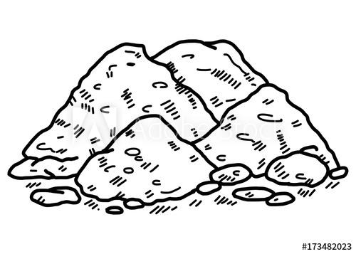 Soil cartoon vector illustration. Dirt clipart black and white