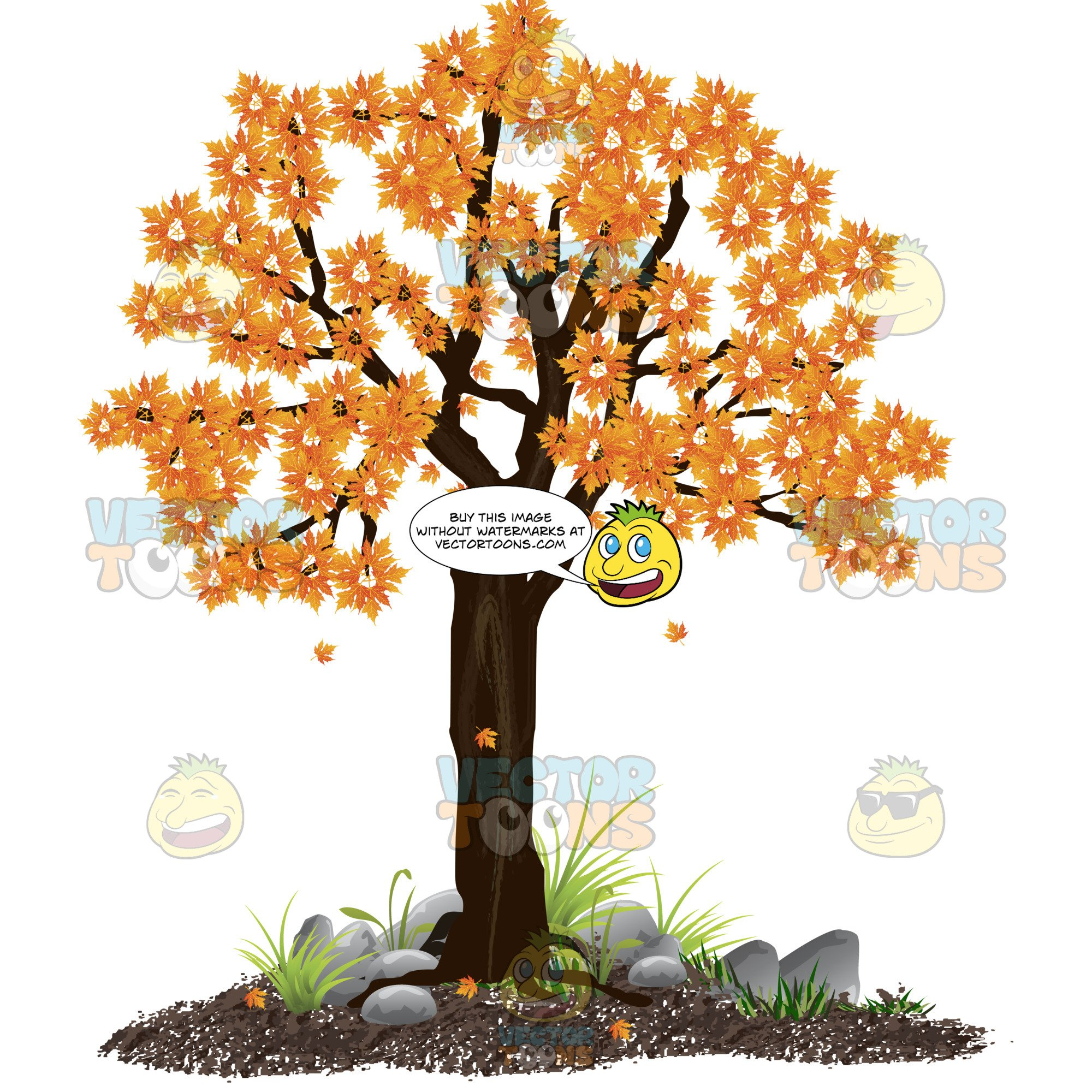 Dirt clipart brown rock. Tree with orange gold