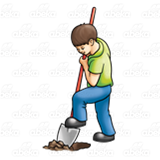 Hole clipart dig hole. Boy digging with a