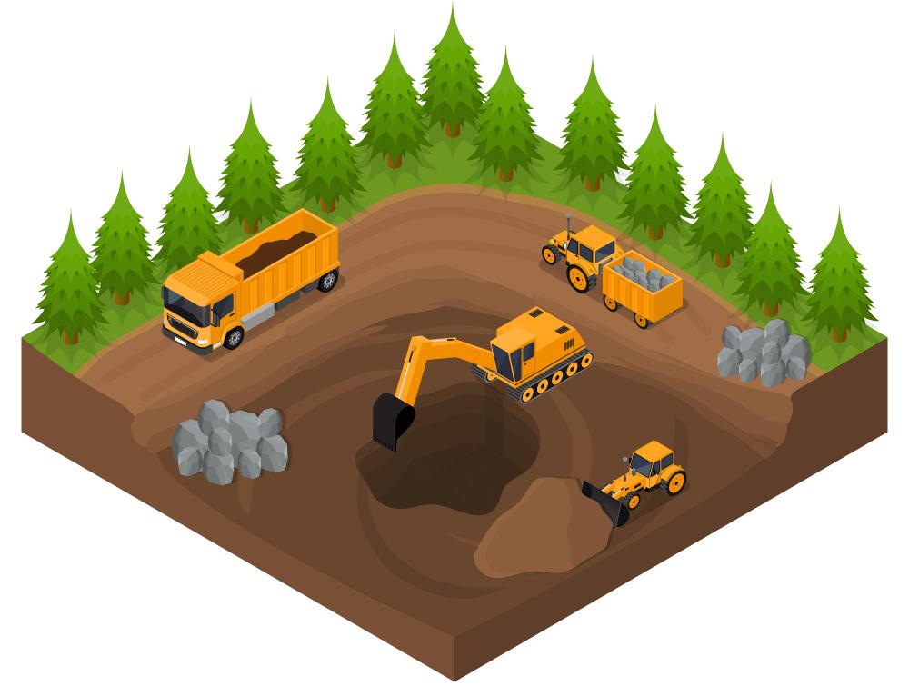 Excavator in cobram jobling. Dirt clipart excavation