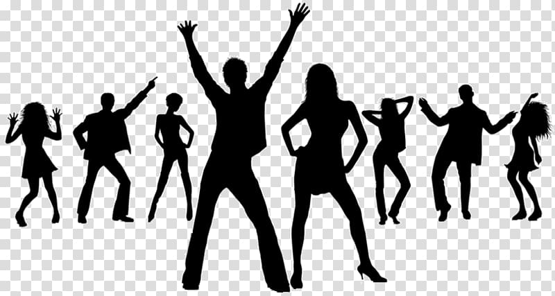 Disco clipart family dance. Party drawing silhouette transparent