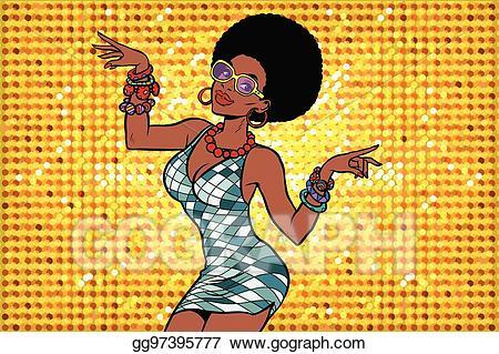 Disco clipart pop dance. Vector art african american