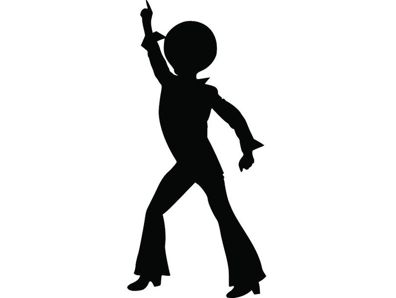 Dancer button fly collar. Disco clipart pop dance