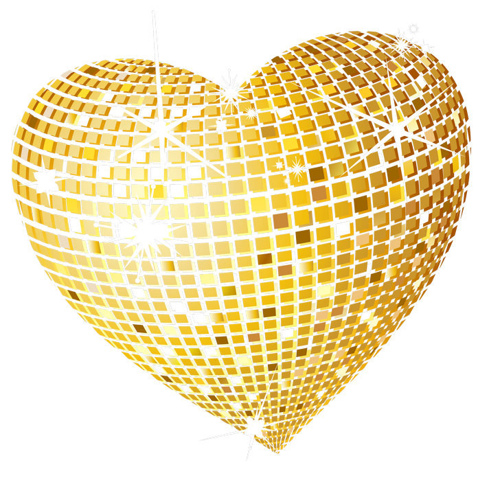 Hearts clipart cookie. Gold disco heart png