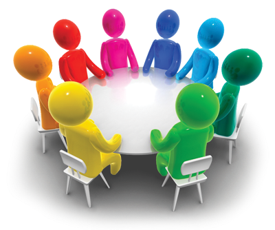 Small group . Discussion clipart