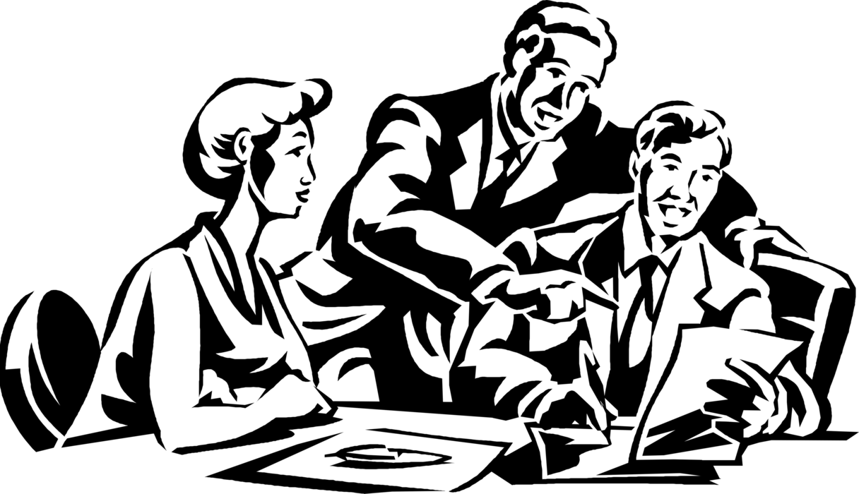 Workers in vector image. Discussion clipart boardroom meeting