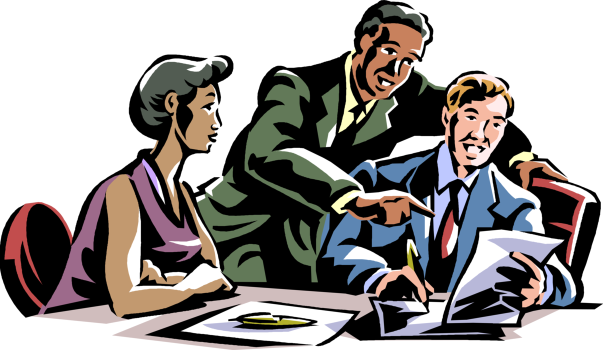 Discussion clipart boardroom meeting. Workers in vector image