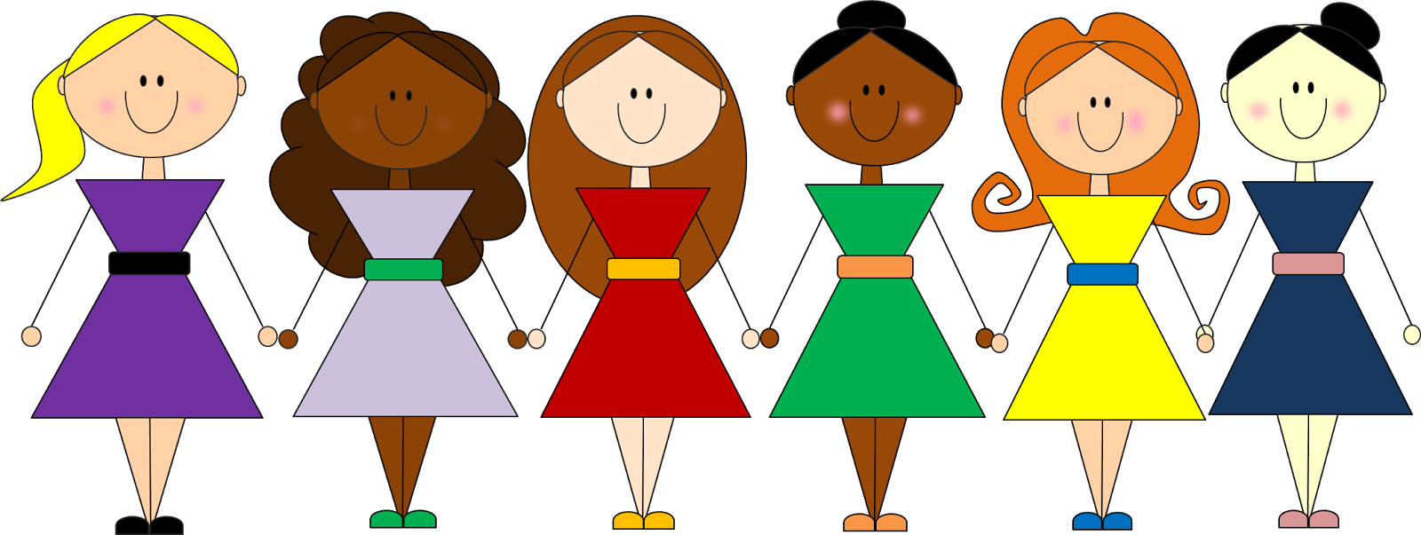collection of girls. Friendship clipart peer group