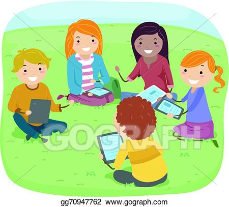 Vector teens illustration . Study clipart kids group discussion